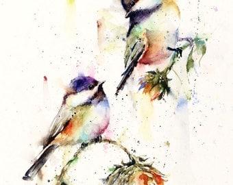 CHICKADEE & SUNFLOWER Watercolor Print, Bird Art Painting,  by Dean Crouser
