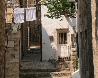 Laundry Wall Art - Dubrovnik Croatia Photography - Rustic European Decor - Brown Art - Old Town Photograph - Travel Photo