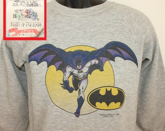 Batman DC Comics vintage sweatshirt gray XS 80s 1989 superhero Bruce Wayne Fruit of the Loom