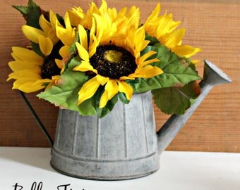 Fixer Upper Style Galvanized Metal Farmhouse Decor Watering Can Sunflower Floral Arrangent