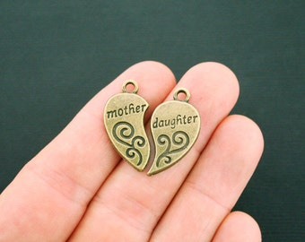 4 Mother Daughter Heart Charms Antique Bronze Tone 2 Piece Set - BC988