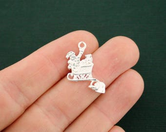 6 Santa Charms Silver Tone 2 Sided Sleigh With Dangle Present - XC16 NEW6