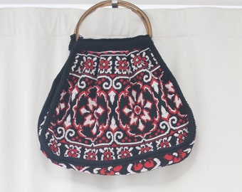 amazing vintage textile bag, wood handles large