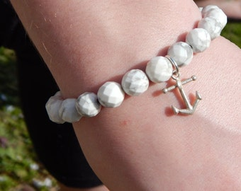 Nautical White Howlite Beaded Bracelet with Silver Anchor Charm, OOAK, One of a Kind