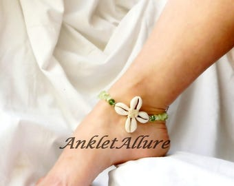 Green Beach Anklet Cowrie Flower Ankle Bracelet Beach Body Jewerly Cruise Vacation Beach Resort Foot Jewelry