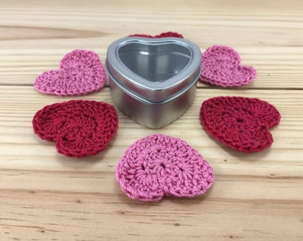 Heart shaped tin with crocheted variegated mini hearts - appliques - Valentine embellishments