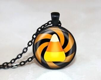 Halloween Necklace GlassTile Necklace Black Necklace Glass Tile Jewelry Halloween Jewelry  Candy Corn Jewelry Holiday Jewelry Black Jewelry