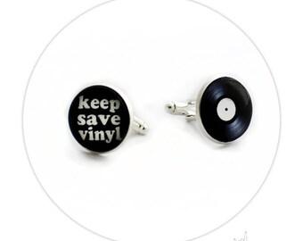 Boutons de Manchette - Disque Vinyle Keep Save Vinyle
