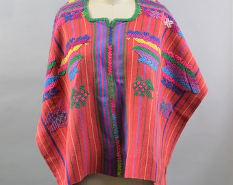 Vintage Guatemalan Poncho or Huipil Handwoven Textile Heavily Embroidered Red and Blue Stripes Bird Embroidery Guatemalan Clothing