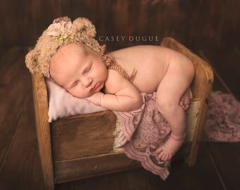 Baby Hat Teddy Bear Bonnet - Newborn Photo Prop, Bear Bonnet, Crochet Teddy Bear Hat, Beige Bear Bonnet, Fuzzy Bear Hat, Baby Bonnet