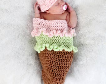 Newborn Cocoon, Crochet Cocoon, Baby Cocoon, Ice Cream Cocoon Set, Newborn Photo Prop, Crochet Ice Cream Cocoon, Baby Photo Prop, Pink Green