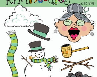 KPM Old lady who swallowed Some Snow Digital Clipart COMBO