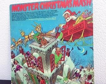 "Vintage Monster Christmas Mash LP Record Vinyl Album Xmas Holiday Music 12"""
