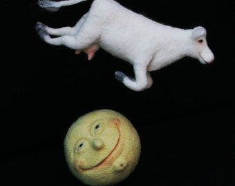 Needle Felted Fairytale Sculpture: The Cow Jumped Over the Moon