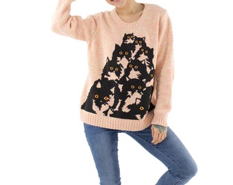 Peachy Crazy Kitty Sweater