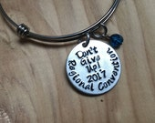 "JW Regional Convention Bracelet- Hand-Stamped ""Don't Give Up! 2017 Regional Convention"" Bracelet with an accent bead of your choice"