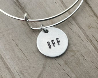 """SALE- Quote Bangle Bracelet- """"BFF""""- hand-stamped bracelet- only 1 available"""