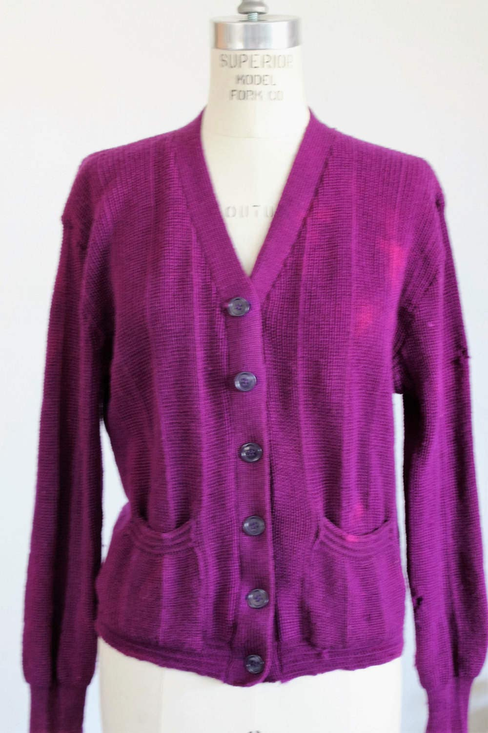 CLEARANCE: Vintage 1940s Purple Wool Sweater / 40s Cardigan With ...