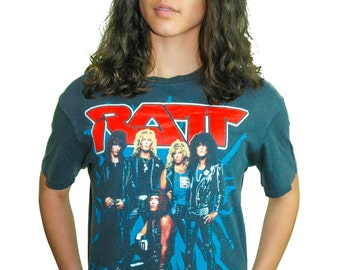 Vintage RATT Tee 1980s Band Tee 80s Tee 80s Shirt Concert shirt Concert Tee Metal Heavy Metal Rocker Iron Maiden Black Sabbath Metallica