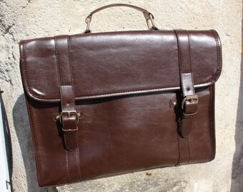 Leather briefcase, mens briefcase, brown mens messenger