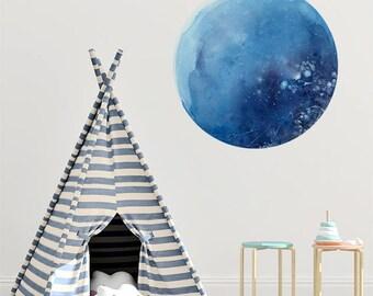Watercolor Wall Decal. Moon Wall Art Decor. Wall Sticker Nursery Moon. Self Adhesive Vinyl. Blue Moon Wall Sticker. Self Adhesive Decor Moon