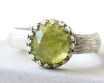 10mm Peridot Ring, Natural Green Gemstone Statement Ring, Customized Engagement Ring, Sterling Silver Bamboo Ring, Engraved Cocktail Ring