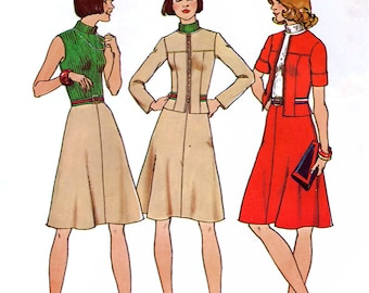 Simplicity 7133 Vintage 70s Sewing Pattern for Misses' Jacket and Short Dress - Uncut - Size 10