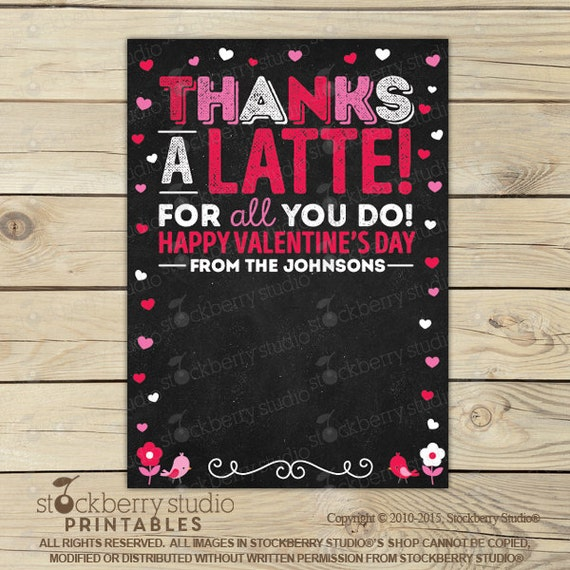 Thanks a latte valentines day printable valentine gift Thanks for all you do gifts