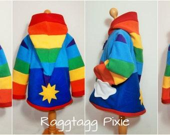 Rainbows & Sunshine, Pixie Hoodie, Fleece, Jacket, Stripey, Elf, Faerie, Fairy, Magic, Wizard