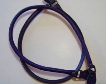 """Purple Rolled Leather Bag Handles 50cm/19.5"""" and 71cm/28"""" (Brass Fittings)"""