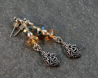 Sterling Silver Earrings Swarovski Crystal Earrings Dangle Earrings Post Earrings