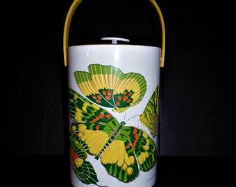 Vintage Ice Bucket barware tall vinyl butterflies butterfly Georges Briard