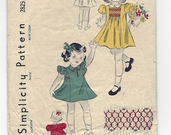 Very Vintage Pattern SIMPLICITY 2825 Girl's Dress & Panties, Size 1