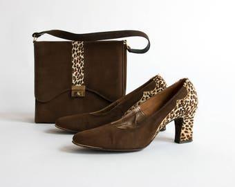 Vintage 1950's Leopard Print Shoe and Purse Set / Retro / MCM / Mad Men Women's Shoe Size 8 / Hand Bag