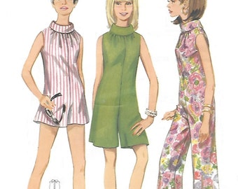 Butterick 4474 Misses' 60s Flared Jumpsuit in Three Lengths Sewing Pattern Size 10 Bust 31