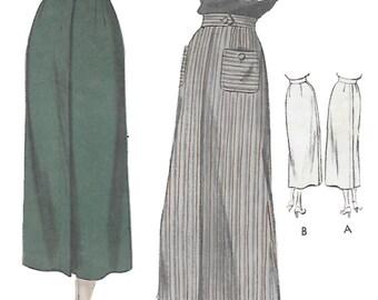 Vogue 6665 Womens 1940s Long Pencil Thin Skirt Sewing Pattern Waist 26 Hip 35
