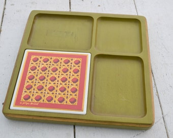 1970s Georges Briard Green Wooden Cheese Board