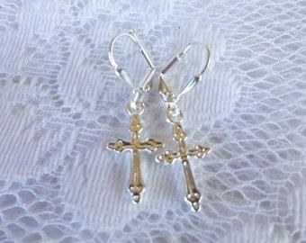 Classic Cross Earrings Tibetan Silver or Silver Plated Filigree  Cross Earrings