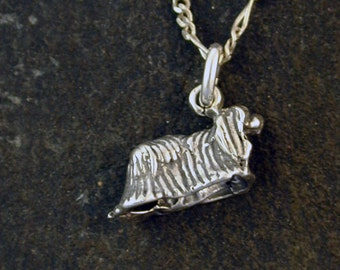 Sterling Silver Yorkshire Terrier, Yorkie Dog Pendant on a Sterling Silver Chain