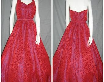 1950's Red and Purple Sharkskin Halter Gown Dress Formal Shelfbust 32 waist Large Prom Wedding Red Carpet Volup Rockabilly Vlv