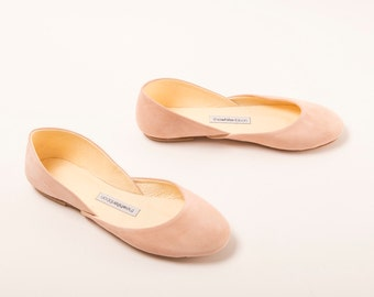 The Suede Ballet Flats in Blush | Bridal Flat Shoes | Ballerina Slippers in Blush Suede