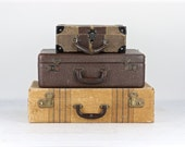 Vintage Suitcase, Stack Of Suitcases, Suitcase Stack Of Three, Striped Suitcase, Old Suitcases, Luggage Stack, Old Suitcase, Luggage