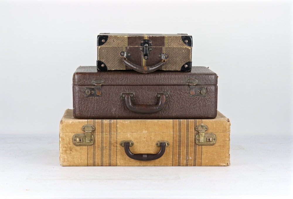 Vintage suitcase stack of suitcases suitcase stack of three - Vintage suitcase ...