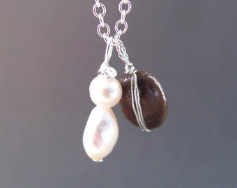 Real Coffee Bean, Silver and Pearl Necklace