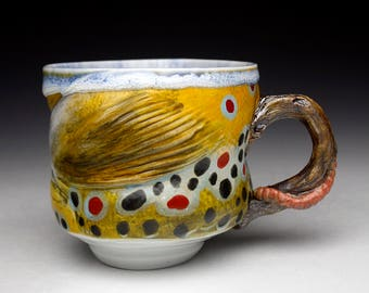 New Large Brown Trout Cup Mug with Wood Handle Gyotaku ( Unique and One of a Kind) Nature as Objects