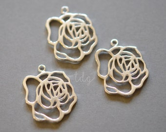 One Sterling Silver Rose Charm, 22 x 18mm, Silver Rose Pendant, Large Rose Charm