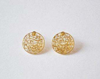 24k gold plated sterling silver midsize post earrings, geometric crochet stud earrings