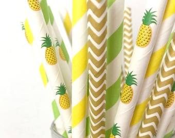 Pineapple Paper Straws - Tropical Pineapple Party Decor, Luau 1st Birthday Party, Beach Bachelorette, Baby Shower