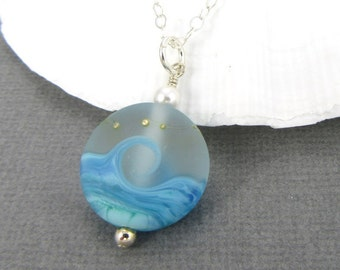 Beach necklace, Ocean blue wave necklace, Seaside jewelry, Sea glass pendant, Vacation necklace, Lampwork necklace, Glass bead pendant