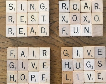 Scrabble Coasters-set of 4 Inspirational